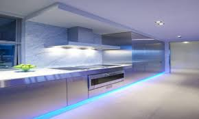 cool minimalist kitchen dominated by chrome tone with led