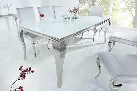 riess ambiente esstisch modern barock 200cm weiß tischplatte aus opalglas edelstahl beine für 10 personen kaufen otto
