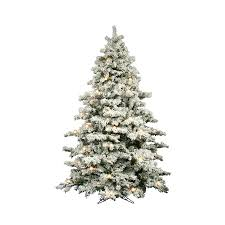 Vickerman 9 Ft Pre Lit Alaskan Pine Flocked Artificial Christmas Tree With White Clear