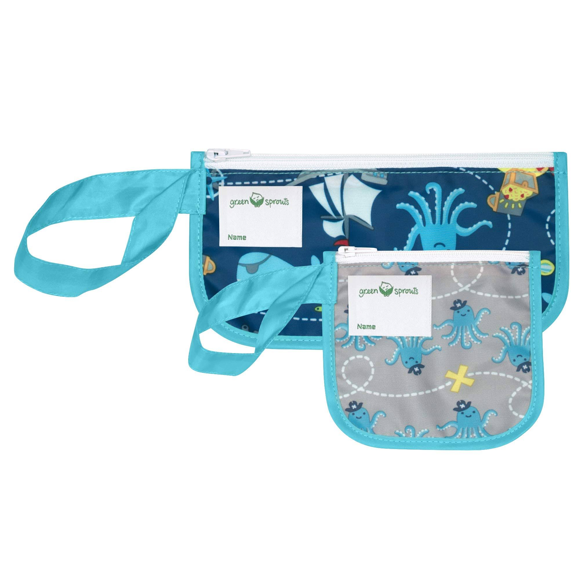 Green Sprouts 2-Pack Pirate Reusable Snack Bags in Aqua