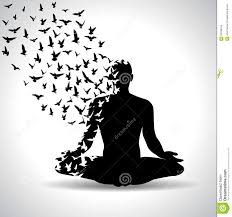 Yoga Pose With Birds Flying From Human Body Black And White Poster Concentration Head