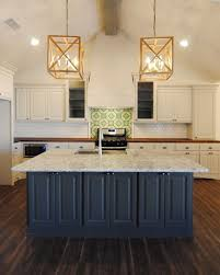 Brand New Kitchen By Ventura Homes Blue Island Counter Seating Wood Pendant