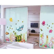 wandsticker4u wandtattoo unterwasserwelt mit schatztruhe i wandbilder 122x68 cm i wasserfeste fliesen aufkleber fische meer tiere i wand deko für
