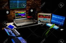 Professional Digital Recording Equipment In Sound Studio Music Editing Broadcasting Concept