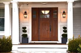 front home design entry style with outdoor sconces