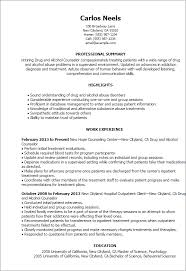 Resume Templates Drug And Alcohol Counselor
