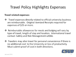 Travel Policy Highlights The CSU Applies To All