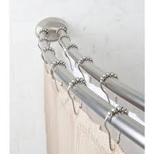 Double Curtain Rod Walmart Canada by Mainstays Smart Rods Adjustable Double Curved Shower Rod Brushed