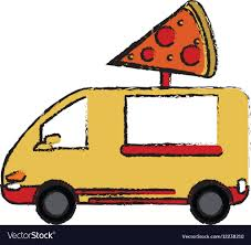 100 Food Delivery Truck Pizza Delivery Truck Fast Food Sketch Royalty Free Vector