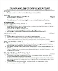 Resume For Waitress Cocktail Objective Examples