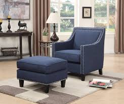 Tribecca Home Uptown Modern Sofa Grey by Erica Chair W Chrome Nails Blue
