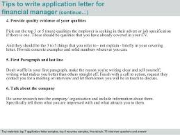 Cover Letter Finance Manager 4 Tips To Write Application Letter For