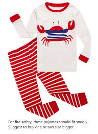 Crab Little Boys Long Sleeve Pajamas 100% Cotton Clothes Toddler Size 3T