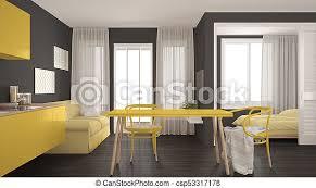 moderne minimale küche und wohnzimmer mit schlafzimmer im