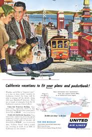 San Francisco Theme Vintage United Airlines Ad 1950s