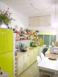 Quirky Kitchen Love Green Fridge Pink Shelving Vintage Modern Charm
