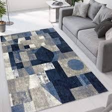 rechteckiger teppich modernes geometrisches design blau grau blu013