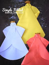Simple Folded Paper Angels Easy Christmas Craft Or Card Idea