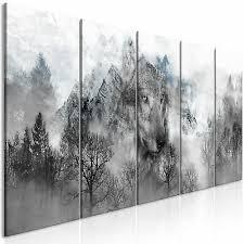 leinwand bilder wolf natur wald nebel kunstdruck wandbilder