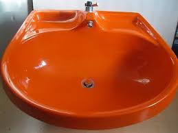 grosses kunststoff waschbecken 70er 80er jahre design