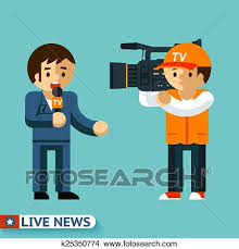 Clipart Of Live News Journalist Is Facing The Camera K25350774