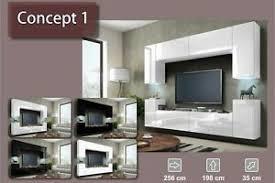 details zu wohnwand hängend tv wand fernseherschrank hochglanz hängwand wohnzimmer concept1