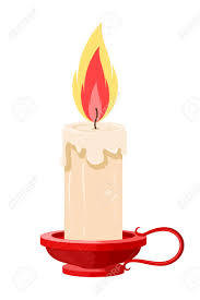 Vector illustration of a burning candle in a holder on a white background Cartoon candle