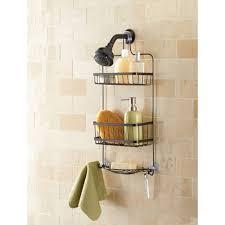 Mainstays Bathroom Space Saver by Mainstays Premium Over The Shower Caddy Bronze Walmart Com