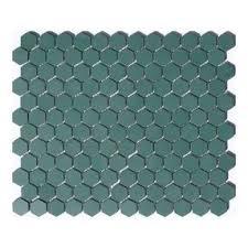 lyric unglazed porcelain hexagon mosaic tile in hemlock green by