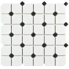 Home Depot Merola Hex Tile by Merola Tile Metro Hex Matte White With Heavy Black Flower 10 1 4