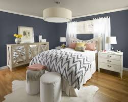 BedroomsChic Modern Bedroom With Chevron Sheet Also Round Benches And Drum Lamp Chic