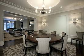 Round 54 Inch Dining Table Room Contemporary With Area Rug Chandelier