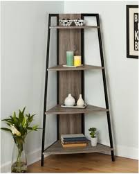 Rustic Reclaimed Wood Metal Corner Shelf Stand 4 Tier Shelving Display Rack