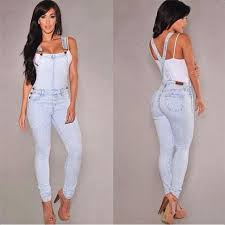 European Style Women Jumpsuit Denim Overalls Casual Skinny Girls Pants Jeans