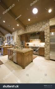 100 Exposed Ceiling Design Stone Kitchen Surround Spotlights On Stock Photo