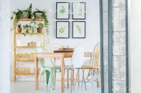 helles esszimmer mit tisch stuhl bücherregal und pflanzen