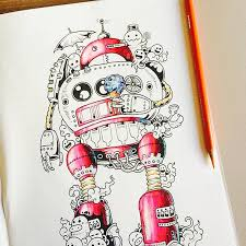 Coloring Book Adult Doodle Invasion Kerby Rosanes 07