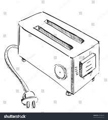 Retro Old School Toaster Hand Drawing Vector Sketch