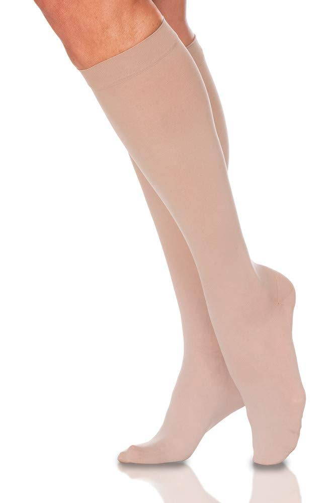 Sigvaris 780 EverSheer Women's Closed Toe Compression Knee Highs - 20-30mmHg, Medium Long, Natural