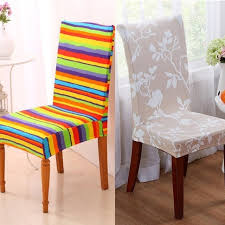 1Pcs Seat Cover Decor Chair Stripes Pattern Stretch Dining Room Removable