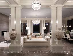 contemporary living room with pendant light by marc