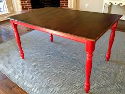 Honey Stained 80s Oak Kitchen Table Turned Into Farmhouse With Red Distressed Legs And Dark
