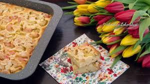 rhabarberkuchen vom blech blechkuchen rezept einfach