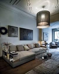 wohnzimmer möbel graues polstersofa einbau regale design