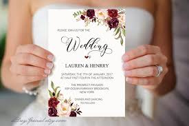 Floral Wedding Invitation Template Printable Invites Burgundy Rose Rustic Boho Chic Winter Invite Set DIY PDF