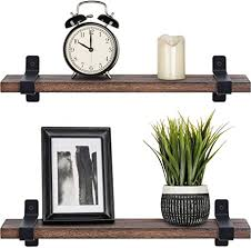 mkono schwebendes holzregal rustikal modern wandmontage aufbewahrungsregal mit halterungen für schlafzimmer badezimmer wohnzimmer küche büro