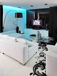 indirekte blaue led beleuchtung wohnzimmer schwarz weiss