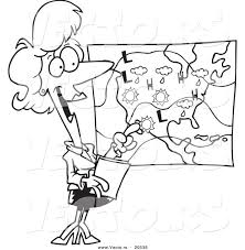 Vector Of A Cartoon Weather Girl Reading The Forecast Coloring Page Outline Pages For Toddlers Educations