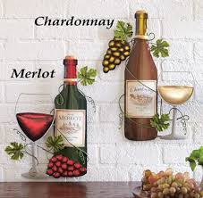 Set Of 2 Tuscany Wine Bottle Shaped Metal Wall Art Hangings Grapes Kitchen Decor