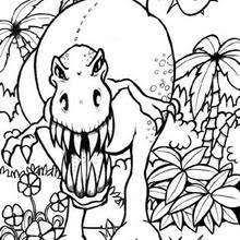 Vegetarian Brontosaurus Terrifying Tyrannosaurus Coloring Page